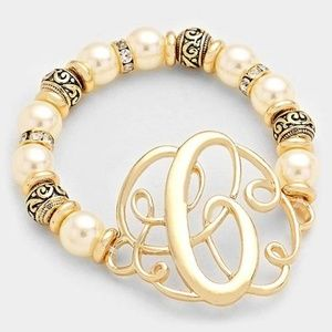Jewelry - 'C' MONOGRAM CHARM PEARL & FILIGREE STRETCH BRACE